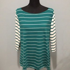 EUC Merona 3/4 Sleeve Striped Boatneck Top